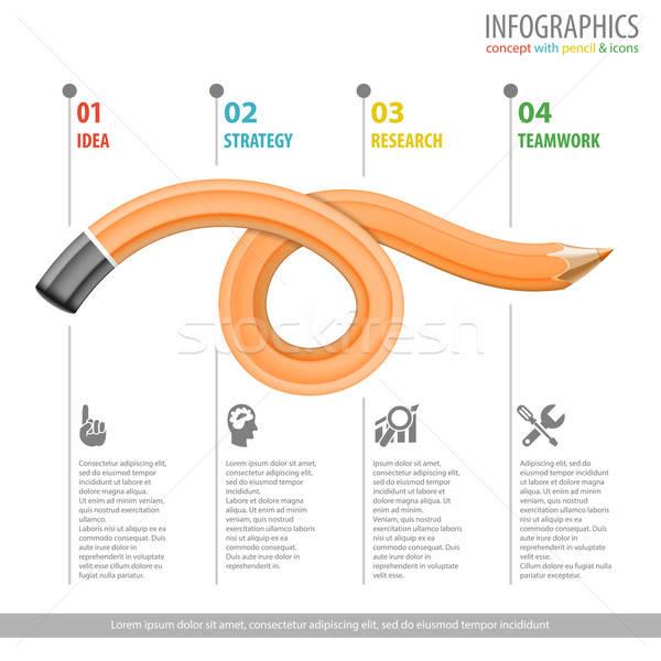 Kalem iş poster dört adımlar Stok fotoğraf © -TAlex-