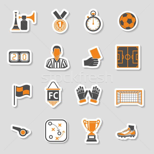Foto stock: Futebol · ícone · adesivo · conjunto · futebol · aviador