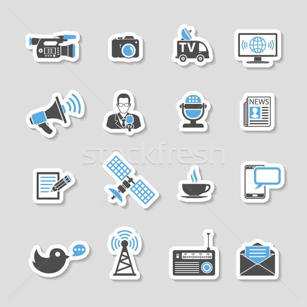 Media nieuws iconen sticker ingesteld journalistiek Stockfoto © -TAlex-