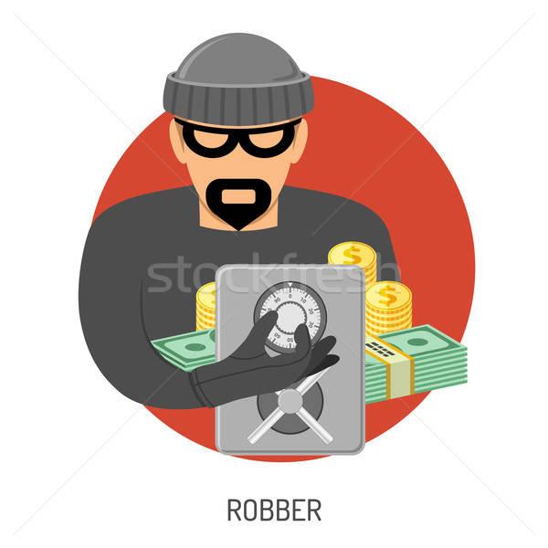 Soyguncu ikon güvenli suç ceza vektör Stok fotoğraf © -TAlex-