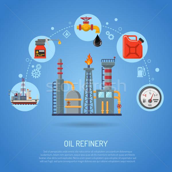 Olie-industrie iconen raffinaderij vervoer olie benzine Stockfoto © -TAlex-