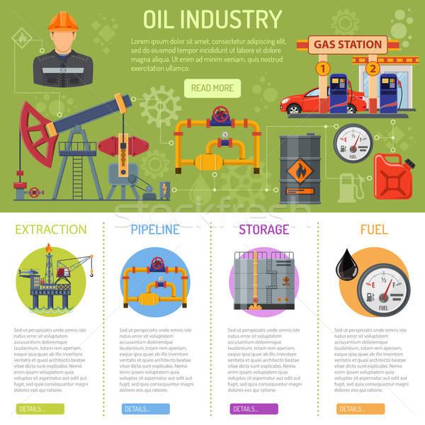Olie-industrie infographics iconen opslag levering vervoer Stockfoto © -TAlex-