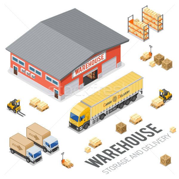 Warehouse Storage and Delivery Isometric Stock photo © -TAlex-