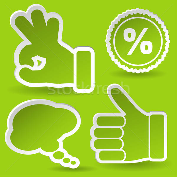Collect Sticker with Hand, Speech Bubble and Stamp Icon Stock photo © -TAlex-