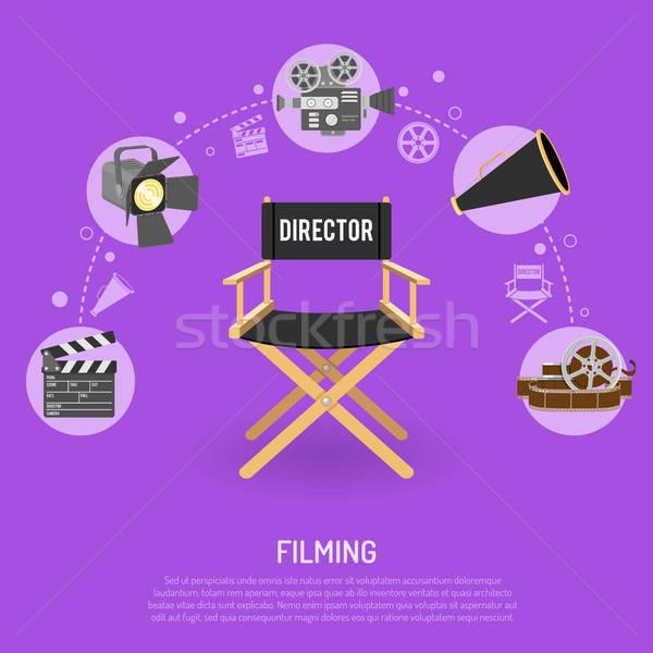 Сток-фото: кино · иконки · Film · Reel · директор · Председатель · дизайна