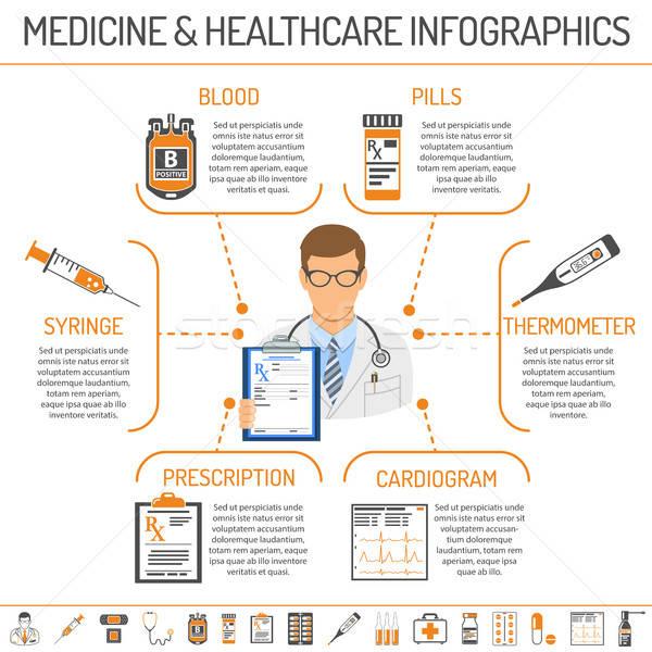 Gyógyszer egészségügy infografika ikonok ahogy orvos Stock fotó © -TAlex-