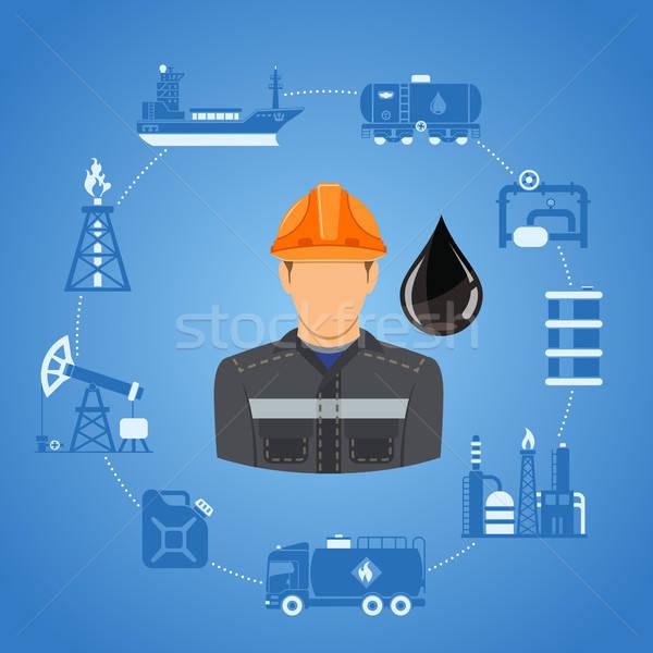 Stock fotó: Olajipar · infografika · kettő · szín · ikonok · gyártás