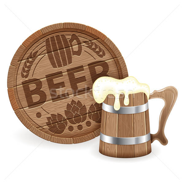 Barrel of Beer and Wooden Mug Stock photo © -TAlex-