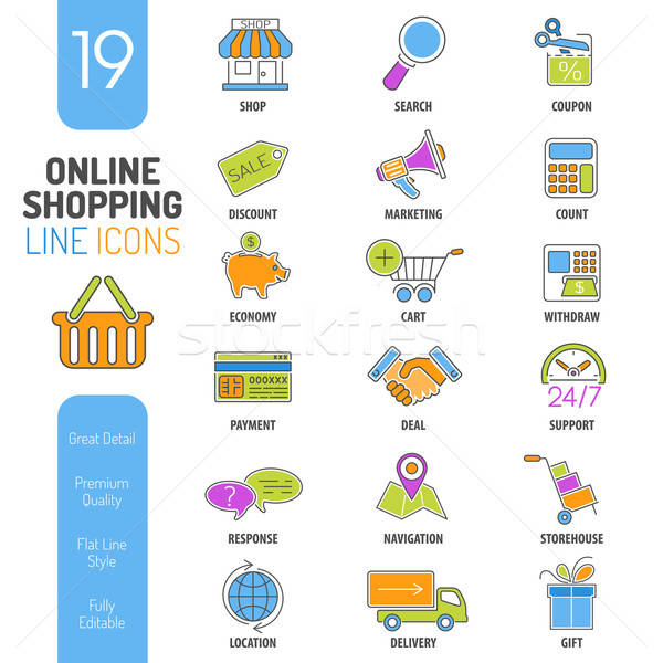 Online Shopping Thin Lines Color Web Icon Set Stock photo © -TAlex-