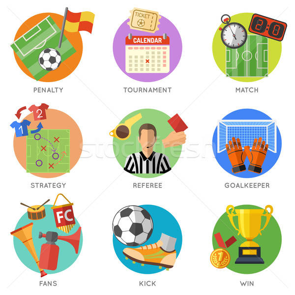 Stok fotoğraf: Futbol · futbol · uçan · poster · web · sitesi