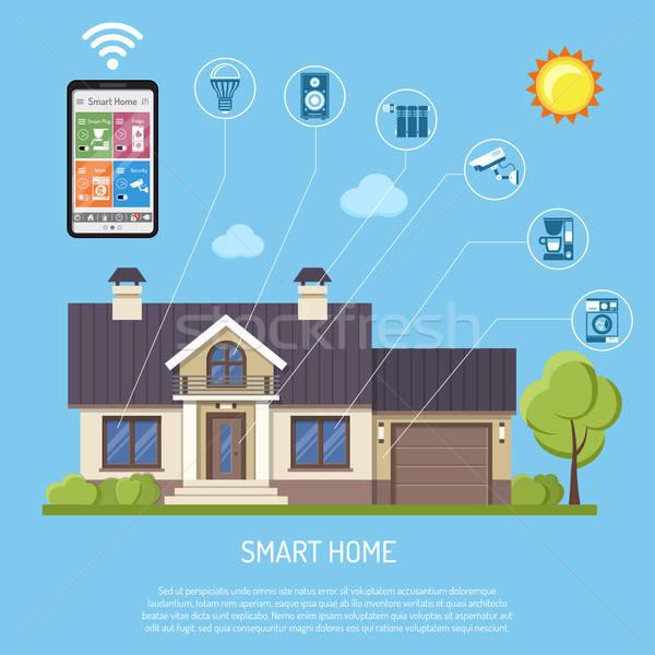 Smart домой интернет вещи смартфон дома Сток-фото © -TAlex-