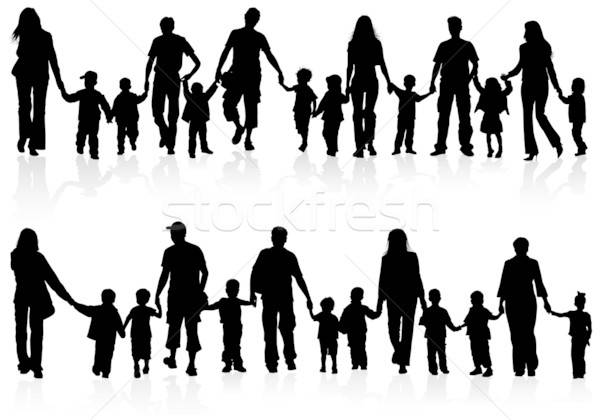 Famille silhouettes parents enfants Photo stock © -TAlex-