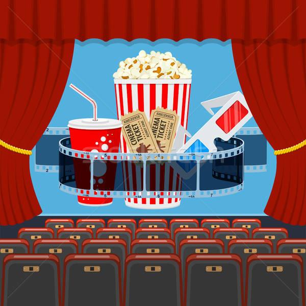 Bioscoop gehoorzaal popcorn transparant film drinken Stockfoto © -TAlex-