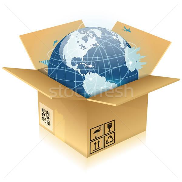 Caja de cartón tierra negocio global abierto mapa casa Foto stock © -TAlex-
