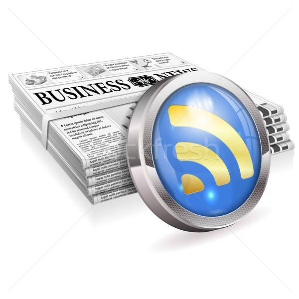 Cyfrowe wiadomości gazety rss feed przycisk Zdjęcia stock © -TAlex-