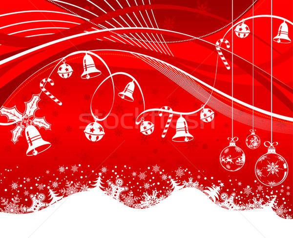 Karácsony hópelyhek harang torta cukorka hullám minta Stock fotó © -TAlex-