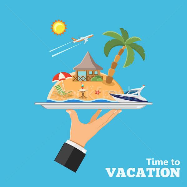 Vacanze viaggio mano vassoio isola Foto d'archivio © -TAlex-