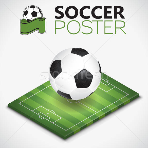 Stok fotoğraf: Izometrik · futbol · sahası · top · futbol · futbol · sahası · poster