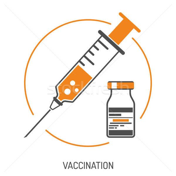 Plastic Medical Syringe and Vial Icon Stock photo © -TAlex-