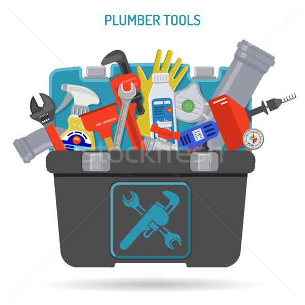 Fontanería servicio fontanero herramientas caja de herramientas iconos Foto stock © -TAlex-