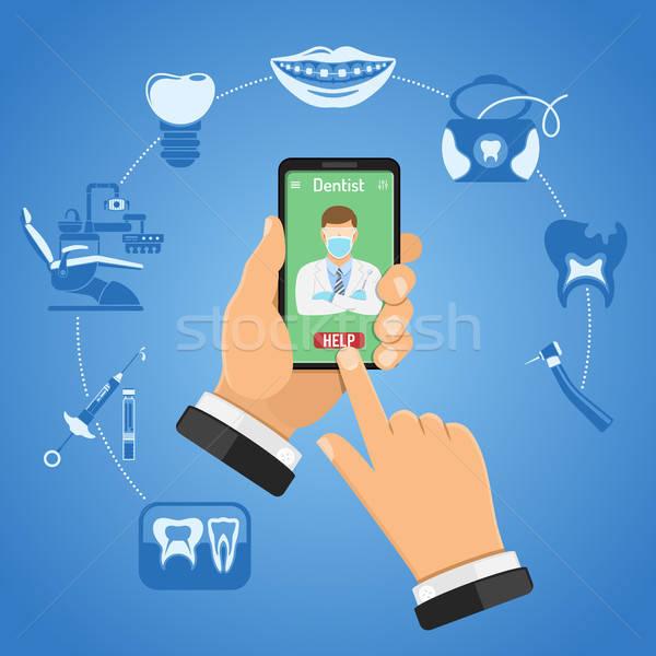 Online stomatologia stomatologicznych usług infografiki ikona Zdjęcia stock © -TAlex-