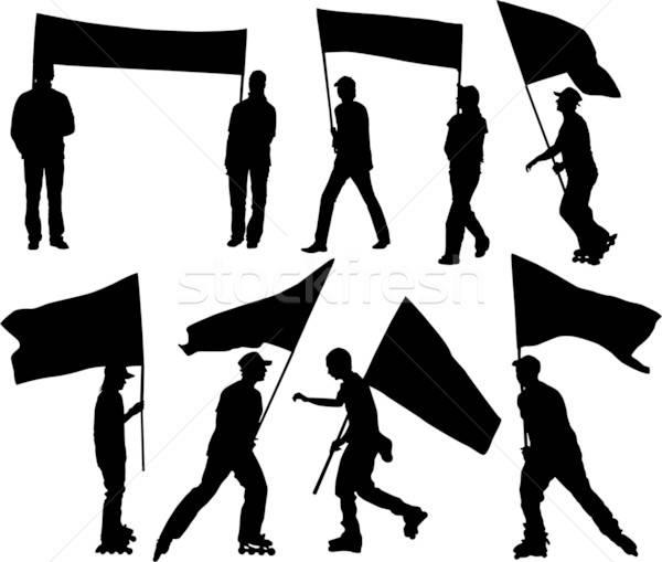 Wektora sylwetki człowiek kobiet banderą przezroczystość Zdjęcia stock © -TAlex-