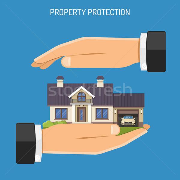 Foto stock: Propriedade · seguro · ícones · casa · mãos · isolado