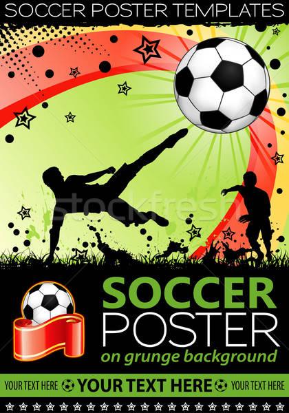 Fußball Plakat Spieler Ball Grunge Element Stock foto © -TAlex-