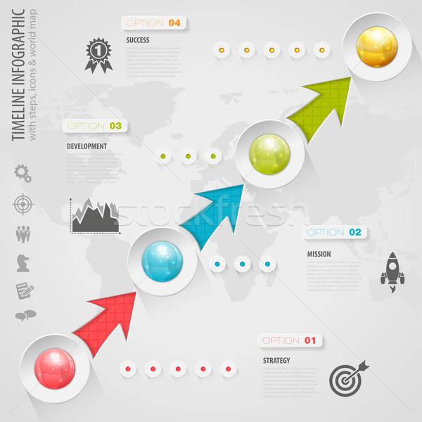Idővonal infografika üzlet gombok ikonok szám Stock fotó © -TAlex-