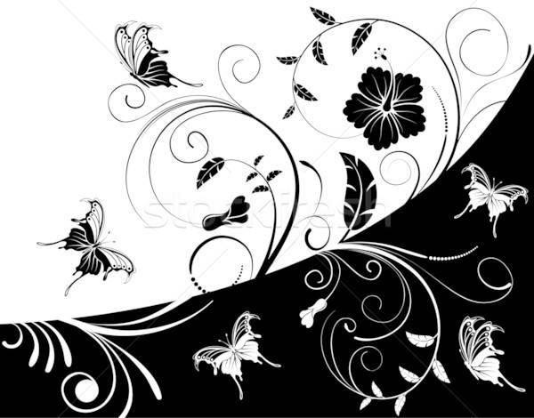Virág pillangó alkotóelem terv absztrakt levél Stock fotó © -TAlex-