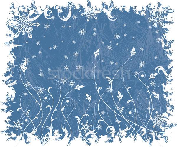 Karácsony fagyos vektor hópelyhek virágok absztrakt Stock fotó © -TAlex-