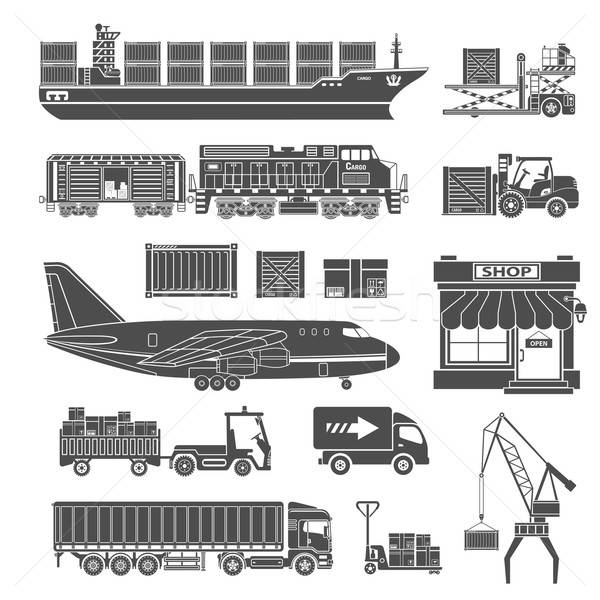 Cargo Transport and Packaging Icon Set Stock photo © -TAlex-