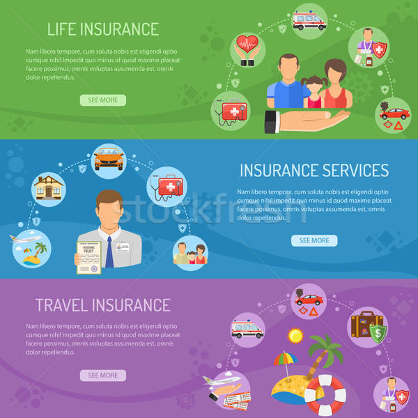 Stock photo: Insurance Services Horizontal Banners