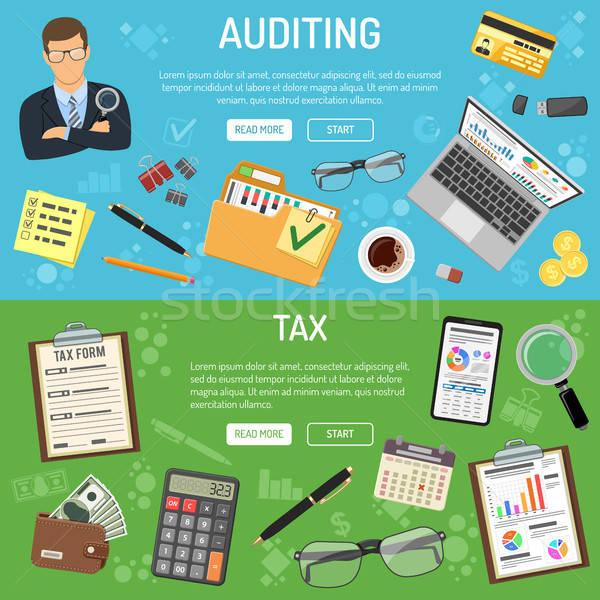 Belasting business boekhouding banners stijl iconen Stockfoto © -TAlex-