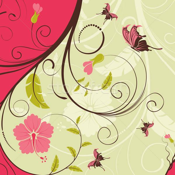 Stock fotó: Virág · keret · pillangó · alkotóelem · terv · természet