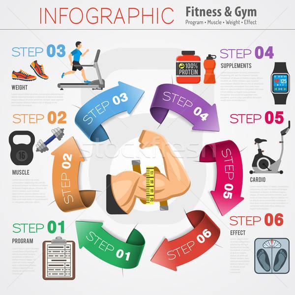Fitness gymnasium infographics oefening fiets Stockfoto © -TAlex-