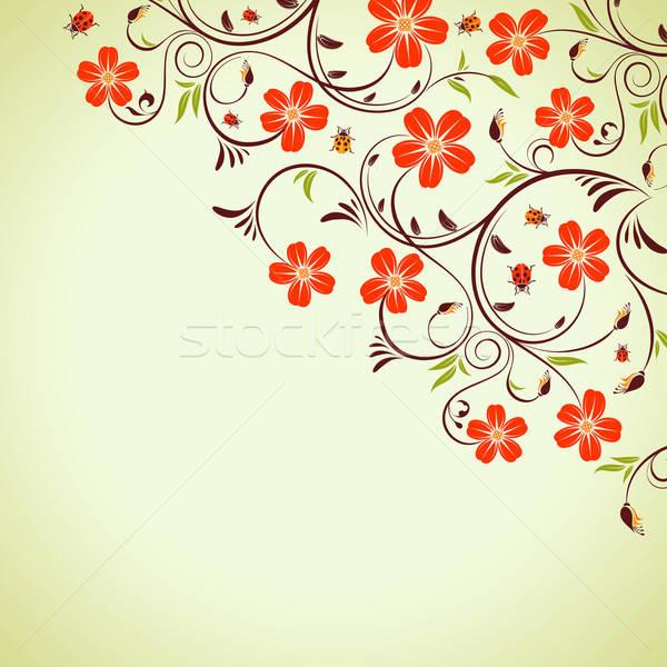 цветочный кадр Ladybug элемент дизайна весны Сток-фото © -TAlex-