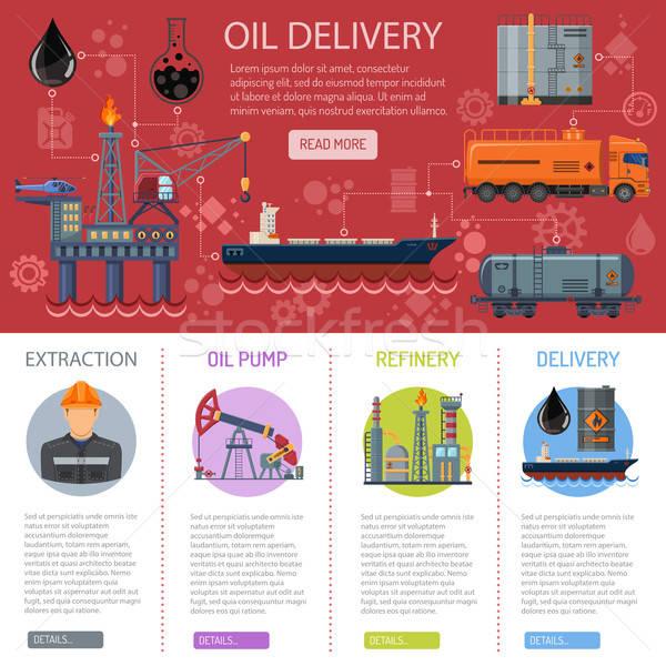 Olie-industrie infographics iconen raffinaderij levering vervoer Stockfoto © -TAlex-