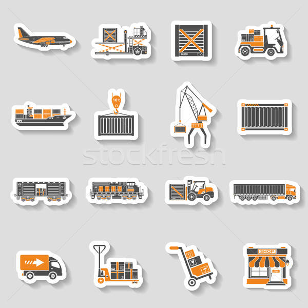 Cargo Transport and Packaging two color sticker set Stock photo © -TAlex-