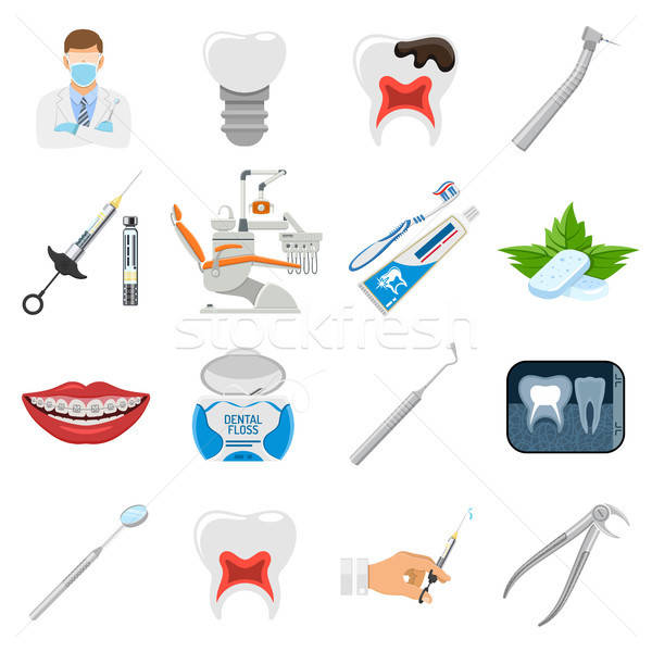 Set Dental Services Icons Stock photo © -TAlex-