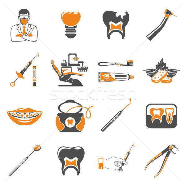 Set Dental Services two color Icons Stock photo © -TAlex-