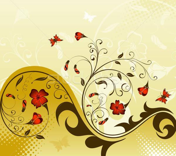 Blume Schmetterling Element Design Frühling abstrakten Stock foto © -TAlex-