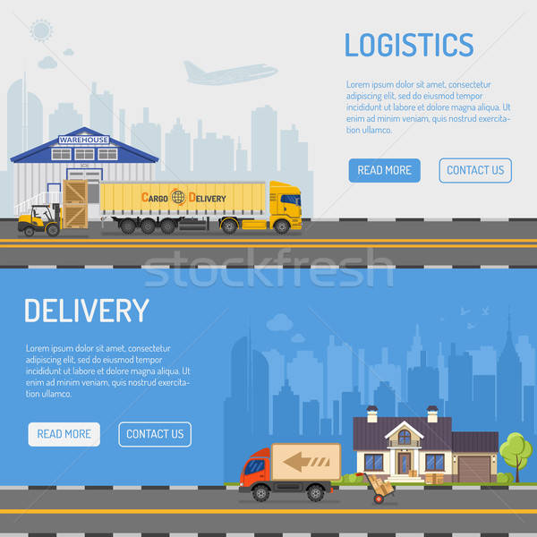 Warehouse Delivery and Logistics Banners Stock photo © -TAlex-