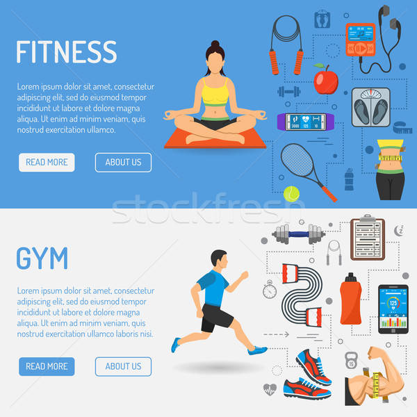 Fitness and Gym Banners Stock photo © -TAlex-