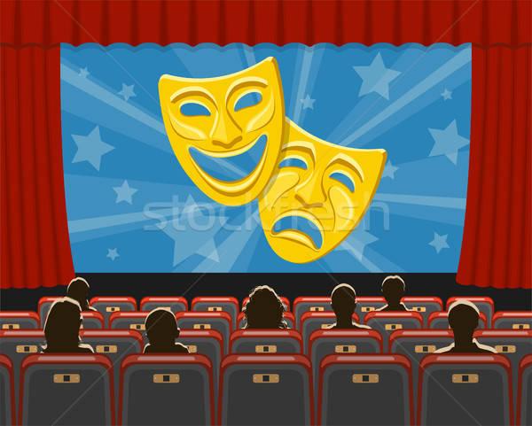 Cinéma auditorium public icônes théâtre masques Photo stock © -TAlex-