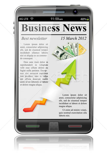 Business News Smartphone isoliert weiß Buch Stock foto © -TAlex-