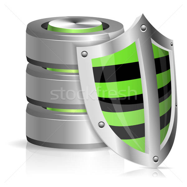 Bezpieczeństwa bazy danych tarcza ikona odizolowany Zdjęcia stock © -TAlex-