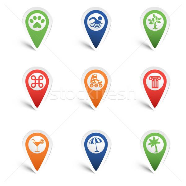 Mapa establecer ocio iconos árbol cóctel Foto stock © -TAlex-