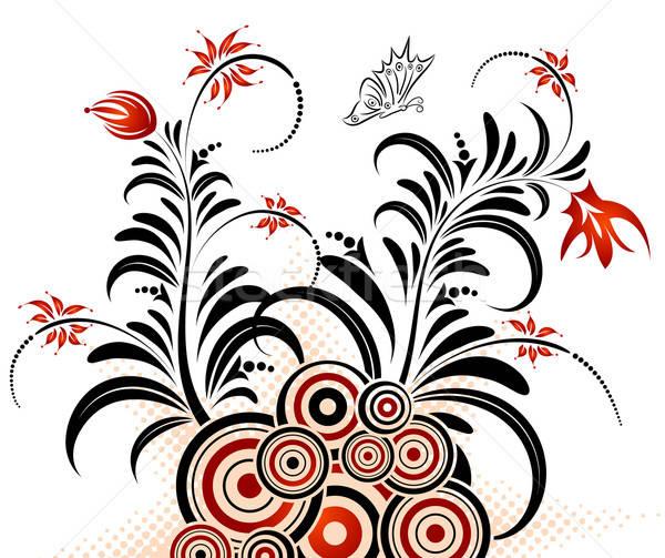 Streszczenie kwiatowy chaos kółko Motyl Zdjęcia stock © -TAlex-