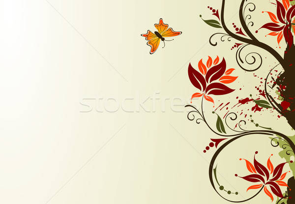 Grunge flower background with butterfly Stock photo © -TAlex-